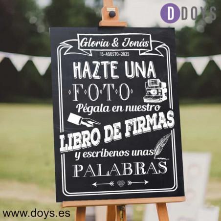 Cartel Bienvenidos a nuestra boda Madera Azul